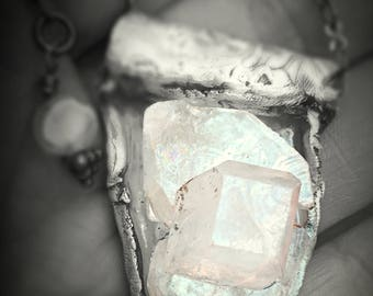 Fairy beautiful apophyllite pendant in recycled silver