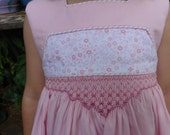 Size 3/4 Hand Smocked and Beaded Dress