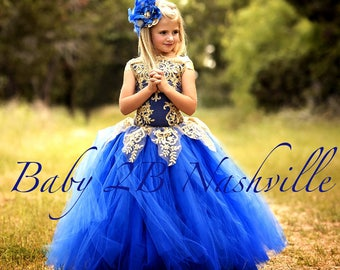Royal Blue Dress Gold Dress Flower Girl Dress Princess Dress Tulle Dress Lace Dress Wedding Dress Birthday Dress Tutu Dress Girls Dress