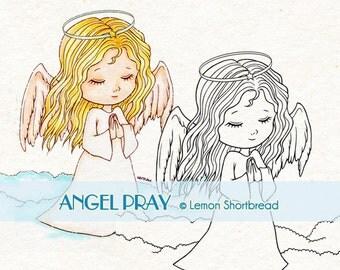 Digital Stamp Angel Pray, Digi Download, Prayer Praying, Christmas, Christian, Children, Thinking of you, Clip Art, Scrapbooking Supplies