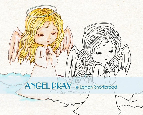 Digital Stamp Angel Pray, Digi Prayer Praying, Christmas, Christian, Winter, Children, Clip Art, Scrapbooking Supplies, Instant download
