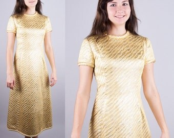 LEE CLAIRE Vintage 1960s Vtg 60s Mod Gold and silver Brocade PARTY Maxi Formal Dress Piping A-Line Small Medium S/M