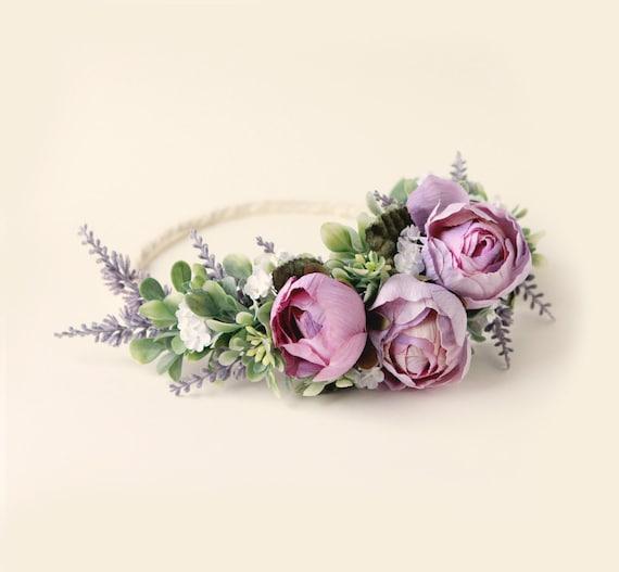 Purple rose woodland crown, Lavender and greenery, Artificial floral head wreath, Bridal hair crown, Plum flower wreath, Wedding hair crown
