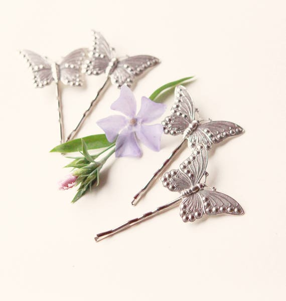 Butterfly hair clips, Butterfly hair pin set, Silver metal butterflies, Silver hair pin set, Unique gift for her, Butterfly hair pin set - 4