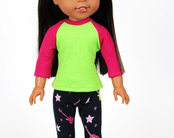 Fits like Wellie Wishers Doll Clothes - Hot Pink and Lime Green Tee and Guitar Print Leggings | 14.5 Inch Doll Clothes