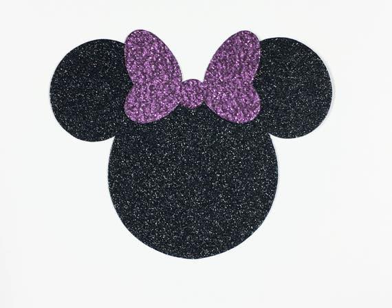 Disney Minnie Mouse Large 4 Inch Black Glitter Cardstock Purple Glitter Bow Die Cut Scrapbook Art Craft Birthday Party Decor Invite