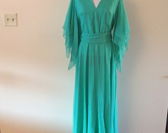 Carribean Green Goddess Gown Vintage 1970s Dress Long Maxi Length Sz M/L