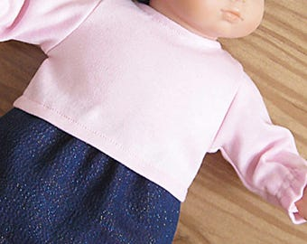 Bitty or Twin Doll Clothes - Skirt 3 piece Set - Iridescent Denim Cotton Skirt, Pink Top and Matching Headband