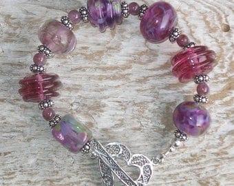 Handmade Glass Lampwork Bead Bracelet - Mulberry