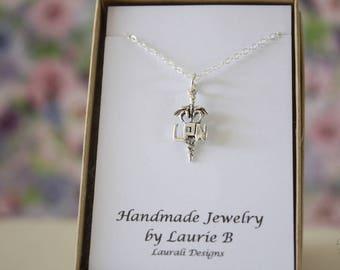 Nurse Charm Necklace, LPN, Friendship Gift, Sterling Silver, Bestie Gift, Practical Nurse Charm, Greek Symbol Necklace, Thank you card