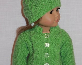 18 inch doll clothes, hand knit green sweater with cables, green hand knit hat with cables, Upbeat petites