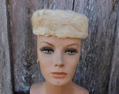 Vintage Mr Wilton Millinery Miss May New York Velevet and Fur Ladies' Ivory Hat