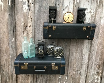 Pair of Wall Shelves Made from a Midnight  Blue 1950's Era Suitcase Luggage Repurposed into A Shelf Travel Inspired