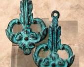 Art Nouveau Connector, Green Patina, Greek Cast Metal, 2 Pieces M473