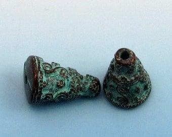 Bali Style Cone, Green Patina, Greek Casting, 22 MM,  2-Pc. M356
