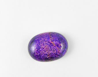 Dichroic Fused Glass Cabochon - Purple Pink - 1760 - 21mm x 15mm