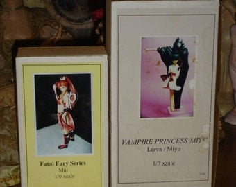 2 Vintage Anime Figure Kits Fatal Fury and Vampire Princess Partial / Complete ?
