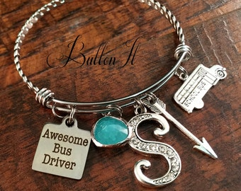 School bus driver gifts, school bus birthday, bangle bracelet, awesome bus driver, thank you gift, charm bracelet, INITIAL jewelry, ARROW