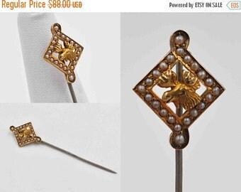 Antique Victorian 14K Gold Order of Moose Stickpin, Seed Pearl, Stick Tie Cravat Pin, Figural, Diamond Shape, Superb! #b731