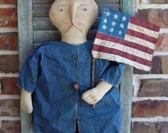 Huge Primitive Patriotic Americana Bunny Rabbit Doll