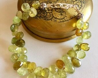 Garnet Beaded Bracelet-Green Garnet Bracelet