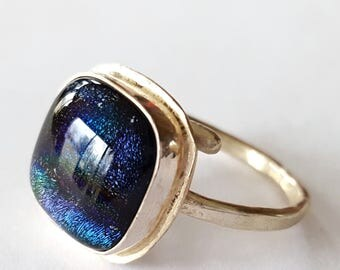 Sterling Silver Ring, Dichroic Glass Jewelry, Blue Ring, Indigo Blue, Wrap Around Ring, Adjustable Ring, Contemporary Jewelry, Made in USA