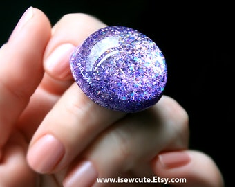 Purple Glitter Ring, Resin Jewelry, Out of this World,  Lilac Chunky Glitter Ring - Handmade Resin Ring, Adjustable Size, Made by isewcute
