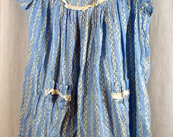 Girl Toddler Dress -  Blue Flowers with Stripes - Cotton Vintage Fabric