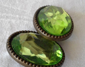 Set of 2 VINTAGE Large Faceted Green Plastic Jewel in Metal BUTTONS