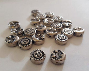 12mm Silver Sun and Moon Beads - 20 pcs - Two-Sided Bead Supply - Bella Mia Beads
