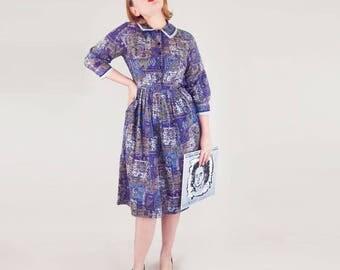 50s Medieval Music Novelty Print Cotton Full Skirt Dress M