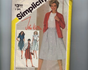 1980s Vintage Sewing Pattern Simplicity 5438 Misses John Weitz Designer Top Skirt and Jacket Size 12 Bust 34 1982 80s