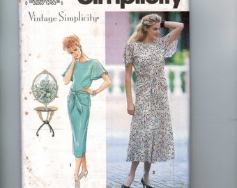 1990s Misses Sewing Pattern Simplicity 7813 1930s Retro Vintage Simplicity Dress with Hip Wrap Size 6 8 10 Bust 30 1/2 31 1/2 32 1/2