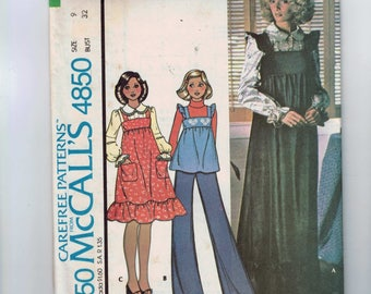 1970s Vintage Sewing Pattern McCalls 4850 Misses Jumper Romper Top Ruffled Sleeves High Waist Size 9 Bust 32 1975 70s UNCUT