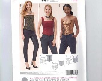 Misses Sewing Pattern Burda 6709 Bustier Corset Clubwear Top Laced Strapless Size 8 10 12 14 16 18 20 UNCUT