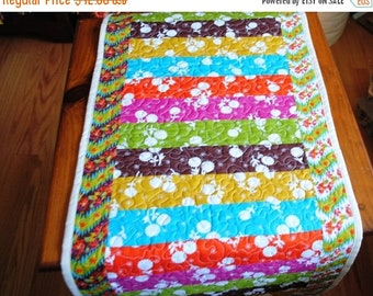 Sale Quilted Table Runner Bright Stripes Wallhanging Quilt