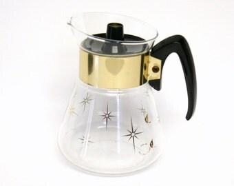 Vintage Corning Coffee Carafe with Metallic Gold Starburst Design