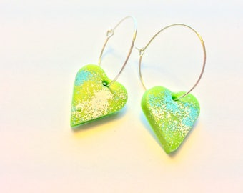 Heart Earrings Green and Turquoise Glittered Peppered Handmade Polymer Clay Earrings