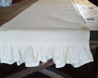 Ivory Double Ruffle Table Runner -Lined- Weddings, Receptions, Parties, Dining Table, Buffet