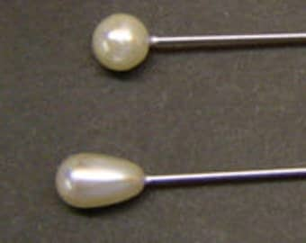 """Pearl Corsage Pins - Teardrop or Round Heads - 2"""" Long - White Pearl  - High Quality Pins"""