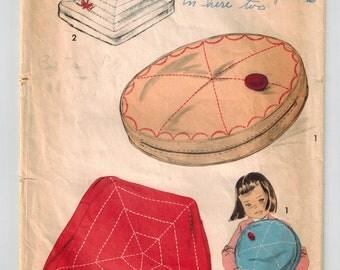Vintage 50's Nursery Rhyme Pillow Craft Sewing Pattern Little Miss Muffet Jack Horner Spider Web Pillow Jack Horner Pie Pillow Advance 7859