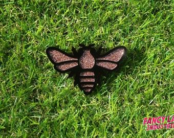 Copper Glitter Bee Brooch, Laser Cut Acrylic, Glitter Acrylic Bee, Native Australian Bee