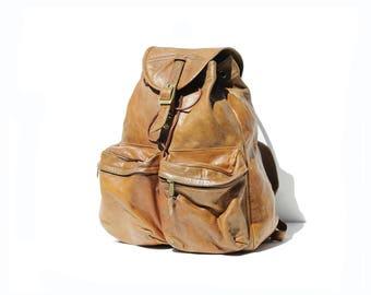 Vintage Super Worn in Brown Leather Large Backpack