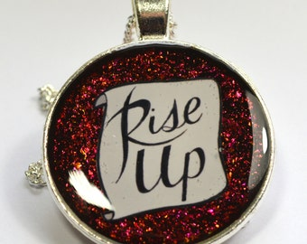 Rise Up Rebellion Solidarity Left Wing Charity Resin Pendant