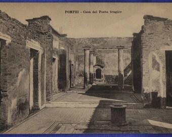 Pompei Italy Casa di Poeta Tragico Tragic Poet Ruins Black White Antique Postcard
