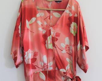 90's silk floral blouse // kimono top