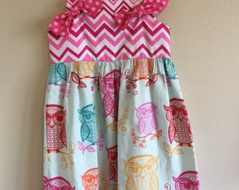 OOAK Knot top dress, Multicolored sketchy owls, trimmed with pink chevron and polka dotted fabric, narrow lace, Size 4T