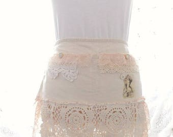 Shabby Rustic Chic Blush Pink Marie Antoinette  Tattered and Vintage Lace Vendor Craft Apron