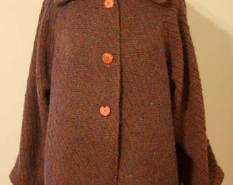 SALE! 54% OFF Sweater Jacket of Handwoven Fabric in Rust and Purple Heather English Wool
