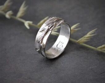 Plant Ring, Kansas Ring, Botanical Ring, Prairie Ring, Grass Ring, Band Ring, Side Oats Grama Ring, Nature Ring, Sterling Ring. Silver Ring